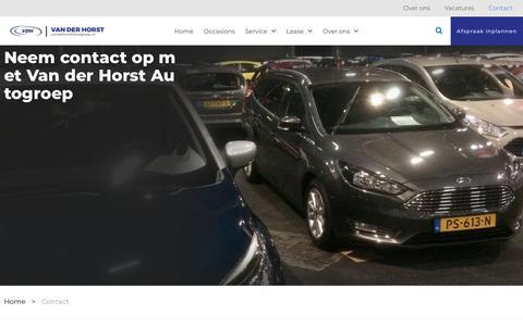 Screenshot of Contact Page vanderhorstautogroep.nl - Contact - Van der Horst Autogroep - captured July 5, 2018