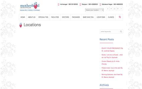 Screenshot of Contact Page Locations Page motherhoodindia.com - Locations | Motherhood - captured Feb. 14, 2016