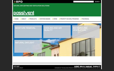 Screenshot of Products Page passivent.com - Products - Passivent - captured Jan. 25, 2016