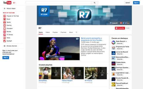 Screenshot of YouTube Page youtube.com - R7  - YouTube - captured Oct. 29, 2014