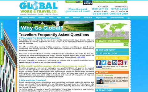 Screenshot of FAQ Page globalworkandtravel.com - FAQS | The Global Work & Travel Co. - captured Oct. 6, 2014