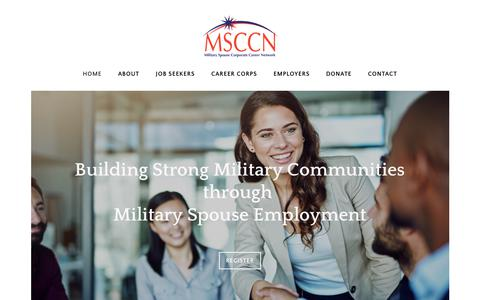 Screenshot of Home Page msccn.org - Military Spouse Corporate Career Network - Home - captured July 26, 2018