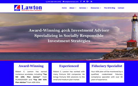 Screenshot of Home Page lawtonrpc.com - 401k Investment Adviser & Fiduciary Compliance Specialist - captured Dec. 14, 2018