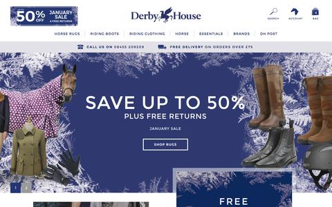 Screenshot of Home Page derbyhouse.co.uk - Derby House | Horse Rugs, Equestrian Clothing & More - captured Jan. 19, 2016