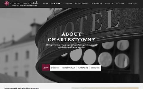 Screenshot of About Page charlestownehotels.com - Charlestowne Hotels | Hospitality Marketing Company - captured Oct. 2, 2014