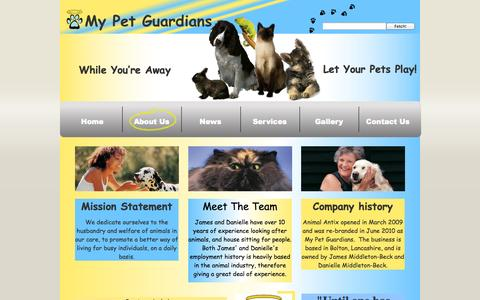 Screenshot of About Page mypetguardians.com - About Us - captured Oct. 26, 2014