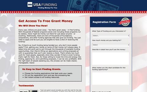 Screenshot of Landing Page newusafunding.com - New USA Funding - captured Oct. 23, 2016