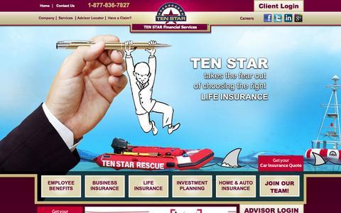 Screenshot of Home Page tenstar.ca - TEN STAR Financial Services - captured Oct. 6, 2014