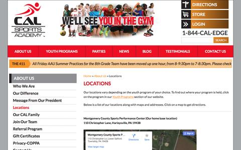 Screenshot of Maps & Directions Page calsportsacademy.com - Locations | CAL Sports Academy - captured July 10, 2016