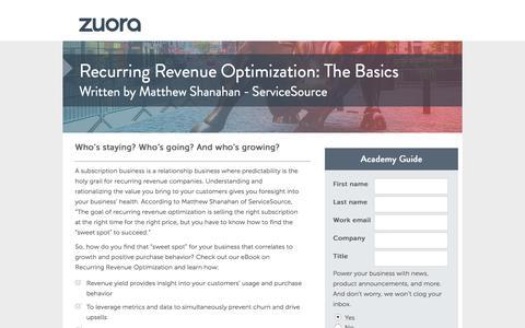 Screenshot of Landing Page zuora.com - Recurring Revenue Optimization: The Basics Academy Guide   Zuora - captured April 4, 2016