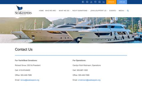 Screenshot of Contact Page seakeepers.org - CONTACT US - captured Feb. 15, 2016