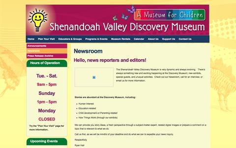 Screenshot of Press Page discoverymuseum.net - Newsroom - Shenandoah Valley Discovery Museum - captured Nov. 15, 2017