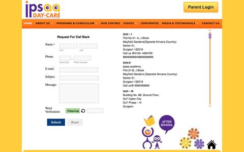 Screenshot of Contact Page ipsaa.in - Contact to Best Day Care Center in Gurgaon, After School in Gurgaon, Day Care Facility in Gurgaon - captured Sept. 21, 2016