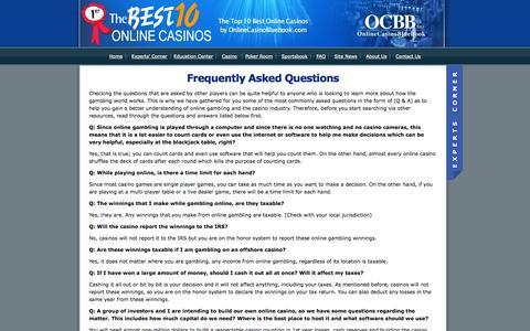Screenshot of FAQ Page onlinecasinobluebook.com - FAQ - captured Oct. 26, 2014