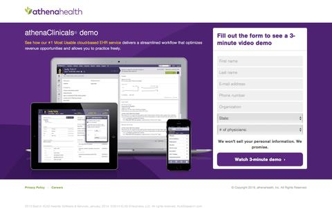 Screenshot of Landing Page athenahealth.com - athenahealth | Watch free demo - captured May 3, 2016