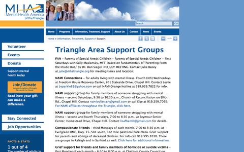 Screenshot of Support Page mhatriangle.org - Mental Health America of The Triangle :: Support - captured Oct. 27, 2014