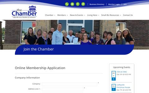 Screenshot of Signup Page coffeyvillechamber.org - Join the Chamber | Coffeyville, KS - captured Dec. 4, 2018