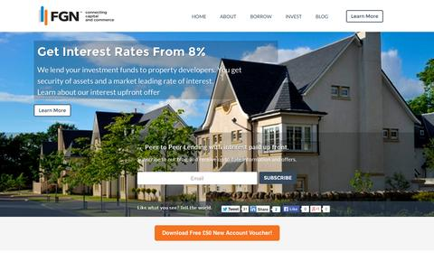 Screenshot of Home Page firstgreatnational.com - First Great National | The peer to peer lender that generates savers interest rates of 8% - captured Jan. 28, 2015