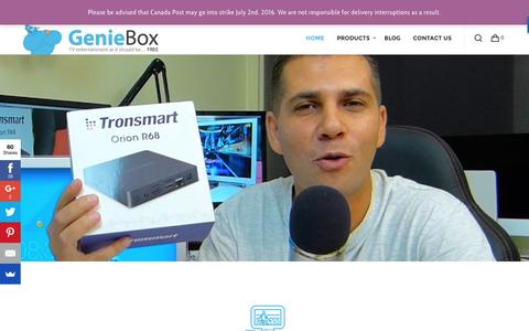Screenshot of Home Page geniebox.ca - Android Tv Box, Mini Keyboard, Kodi - Genie Box - captured July 12, 2016