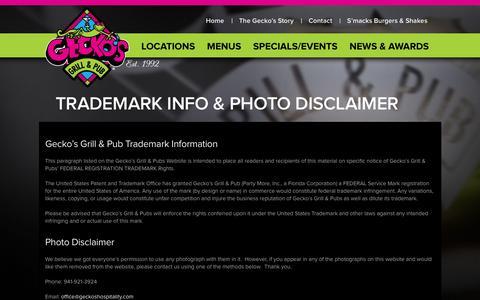 Screenshot of Terms Page geckosgrill.com - Trademark Info & Photo Disclaimer - Geckos - captured Jan. 26, 2016