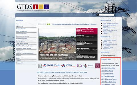 Screenshot of Home Page gtds.co.uk - Welcome to Gunning Transmission and Distribution Services - captured Sept. 27, 2014
