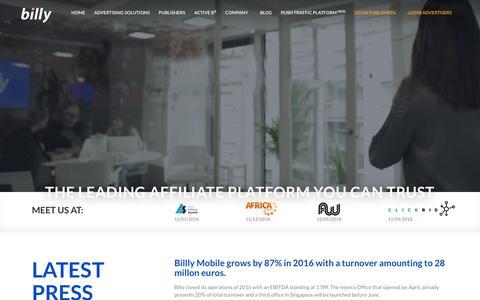 Screenshot of Press Page billymob.com - Press - Billy Performance Network - captured Nov. 13, 2018