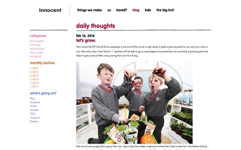 Screenshot of Blog innocentdrinks.ie - innocent – 100% pure fruit smoothies, orange juice, kids smoothies and tasty veg pots - captured March 6, 2016