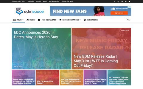 Screenshot of Press Page edmsauce.com - EDM News on EDM Sauce | Interviews, Reviews - captured June 1, 2019