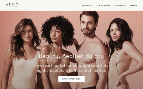 Screenshot of Home Page aedit.com - Beauty, Aedited by You | Aedit - captured Nov. 26, 2018
