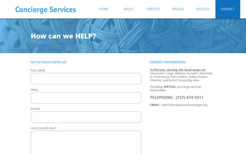 Screenshot of Contact Page mypersonalconcierge.org - CONTACT - captured Dec. 2, 2016
