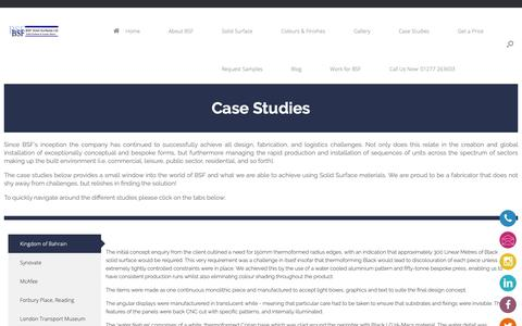 Screenshot of Case Studies Page bsfsolidsurfaces.com - Case Studies - A range of projects utilising Solid Surface - captured Dec. 18, 2018