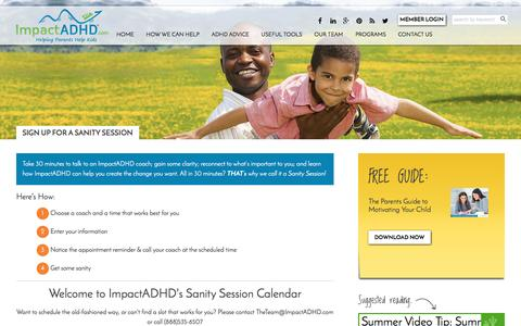 Screenshot of Signup Page impactadhd.com - Sign up for a Sanity Session - ImpactADHD - captured July 23, 2016