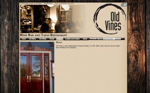 Screenshot of Hours Page oldvineswinebar.com - Hours — Old Vines Wine Bar and Tapas Restaurant - captured Oct. 7, 2014