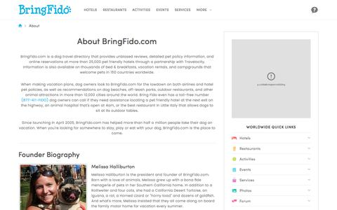 Screenshot of About Page bringfido.com - About BringFido.com - captured June 21, 2017