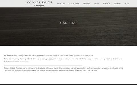 Screenshot of Jobs Page coopersmithco.com - Careers | Cooper Smith & Company - captured Nov. 12, 2016