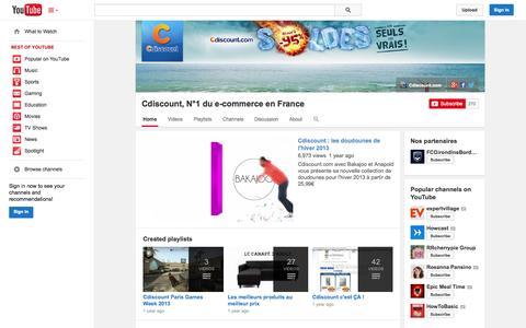 Screenshot of YouTube Page youtube.com - Cdiscount, N°1 du e-commerce en France  - YouTube - captured Oct. 22, 2014