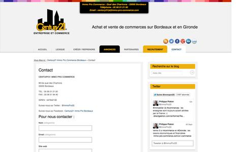 Screenshot of Contact Page immo-pro-commerce.com - Contact | Century21 Immo Pro Bordeaux - captured Oct. 2, 2014
