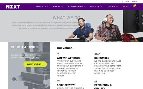 Screenshot of Support Page nzxt.com - Customer Support - NZXT - captured Oct. 21, 2017