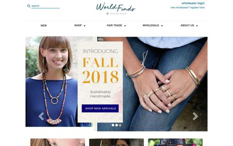 Screenshot of Home Page worldfinds.com - WorldFinds - Handmade. Fair Trade. With Style. - captured Sept. 21, 2018