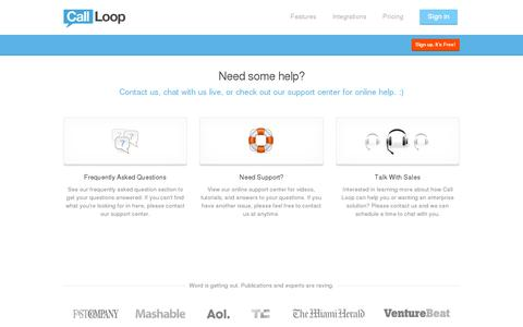 Screenshot of Support Page callloop.com - Need Help? | Call Loop - captured July 19, 2014
