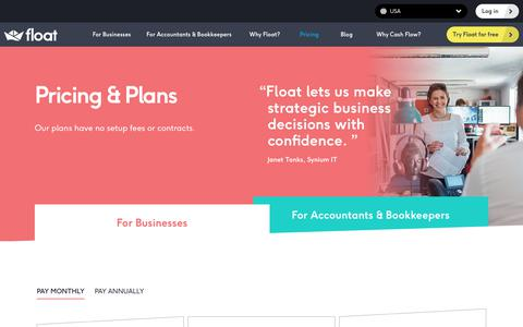 Screenshot of Pricing Page floatapp.com - Float Pricing For Businesses | Float Cash Flow for Xero, QBO & FreeAgent - captured Nov. 7, 2019