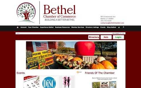 Screenshot of Home Page bethelchamber.com - Bethel Chamber of Commerce - captured Oct. 5, 2014