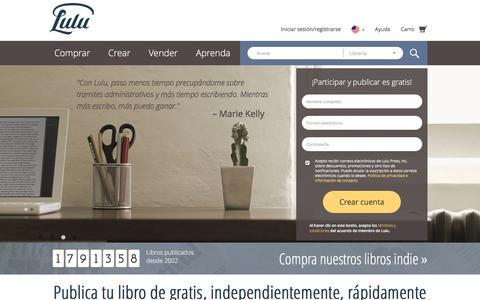 Screenshot of Home Page lulu.com - Publica tu libro independientemente de gratis en línea en Lulu.com - captured Nov. 2, 2016