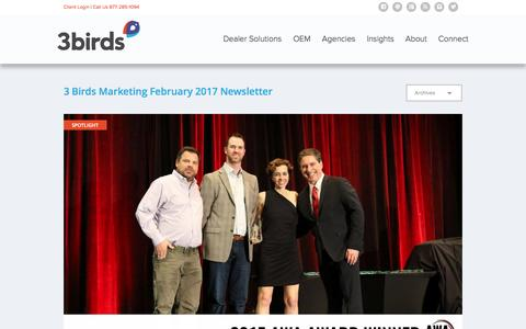 Screenshot of Press Page 3birdsmarketing.com - 3 Birds Marketing February 2017 Newsletter - captured Feb. 28, 2017