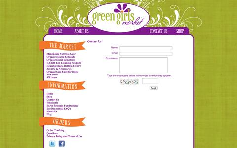 Screenshot of Contact Page greengirlsmarket.com - Green and Organic Products for Healthy Living - captured Oct. 27, 2014