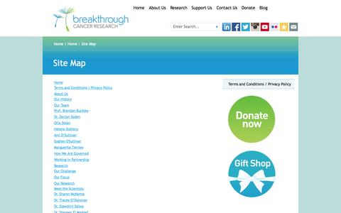 Screenshot of Site Map Page breakthroughcancerresearch.ie captured Sept. 30, 2014