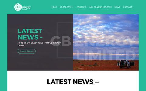Screenshot of Press Page gbenergy.com.au - News | GB Energy Limited - captured July 8, 2017