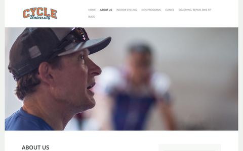Screenshot of About Page cycleu.com - About us   CYCLE UNIVERSITY - captured Sept. 30, 2018