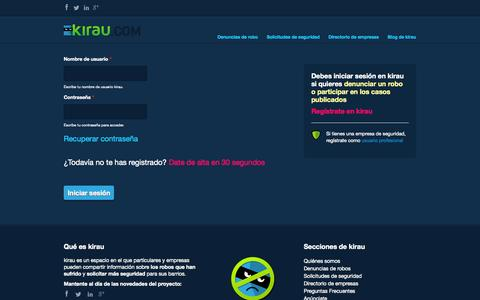Screenshot of Login Page kirau.com - | kirau - captured Oct. 27, 2014