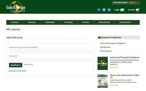 Screenshot of Login Page gasenergyla.com - Mi cuenta | Gas Energy Latin America - captured Jan. 26, 2016